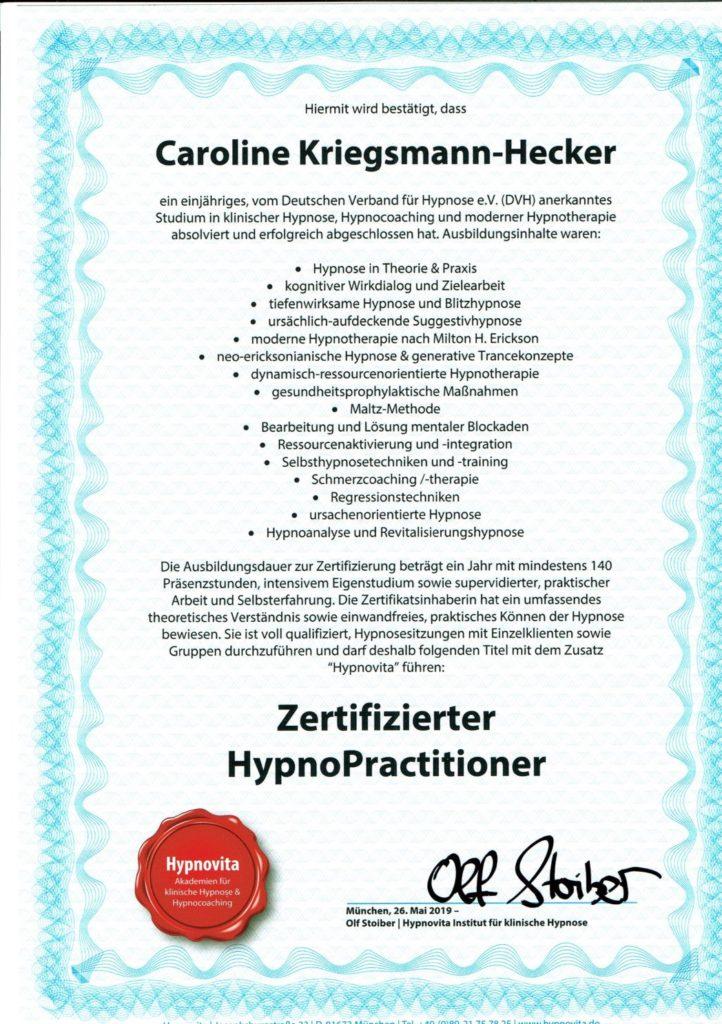 Zertifikat Hypnovita Hypnose Kriegsmann